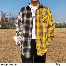 Privathinker Korean Plaid Shirts For Men 2020 Fashion Patchwork Long Sleeve Casual Shirt Hip Hop Streetwear Man Blouse
