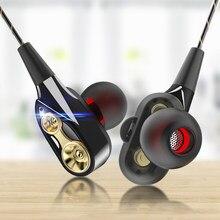 Olhveitra 3.5mm fones de ouvido com fio no ouvido para iphone samsung xiaomi fones de dupla unidade estéreo esporte gamer fone handfree com microfone