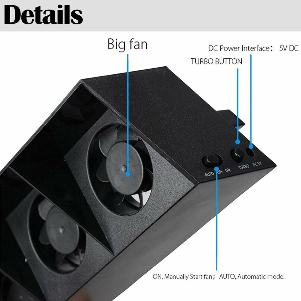 cheapest For PS4 console refrigerator cooling fan for PS4 external USB 5-fan Temperature control for Playstation 4 console