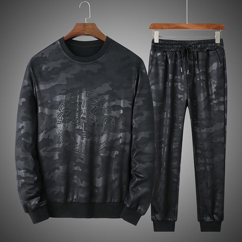 Tide Brand Autumn Camouflage Long Sleeve Suit Male Plus Fat Plus Loose Fat Man Big Size Sports Leisure Two-piece Set Fat