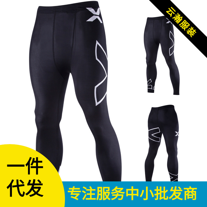16 Spring And Summer New Style Men Europe And America X Printed Letter Fitness Medium Waist Tight Trousers