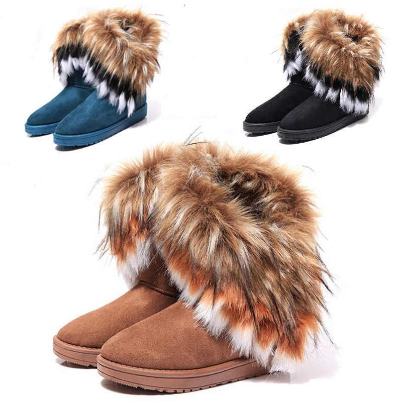 Vrouwen Bont Laarzen Dames Winter Warm Enkellaarsjes Voor Vrouwen Sneeuw Schoenen Stijl Ronde-teen Slip Op Vrouwelijke Kudde sneeuw Boot Dames Schoenen
