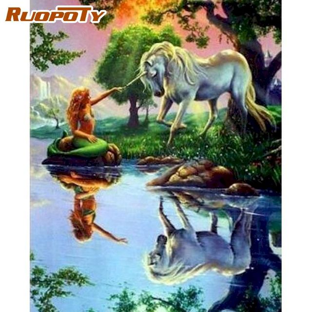 Painting By Numbers Fantasy Unicorn Mermaid Mythical Creatures
