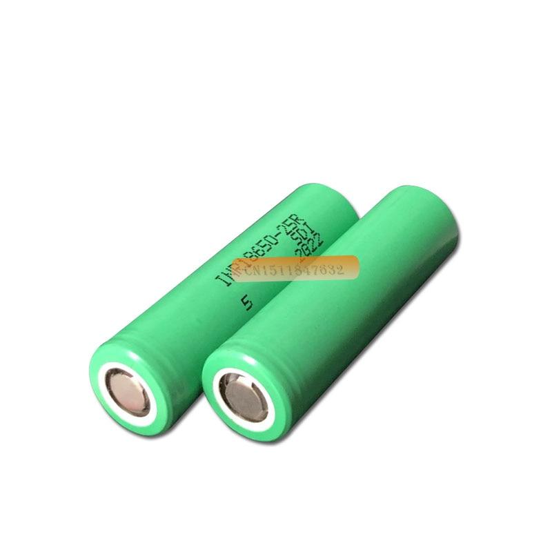 Bateria elétrica de 18650 25r, bateria eletrônica de cigarro e descarga de 18650 mah para samsung 2500 25r pro 20a