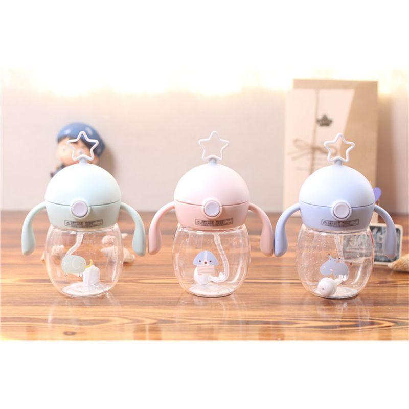 280ml Baby Straw Bottles With Handle Kids Chlidren Drinking Water Bottle
