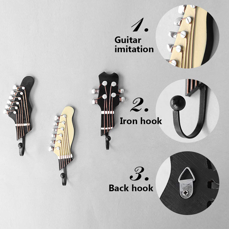 Retro 3 Pcs/Set Guitar Heads Hooks Music Home Resin Clothes Hat Hanger Movie Wall Mounted Hook For Home Decoration