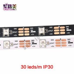 Image 4 - 1m 5m DC5V WS2812B WS2812 Led פיקסל רצועת מיעון בנפרד חכם RGB Led רצועת אור קלטת שחור לבן PCB IP30/65/67