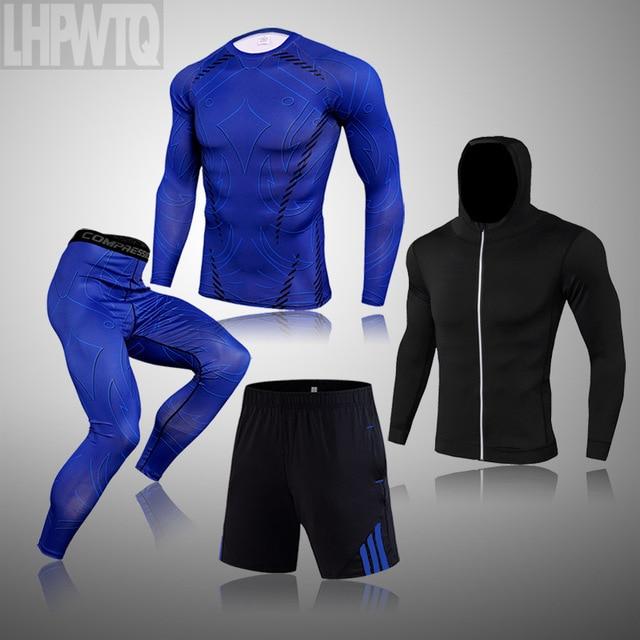 Men Thermal Underwear Winter Long Johns 4 Piece Sports Suit Men's Compression Leggings Quick Dry T-shirt Long Sleeve Jogging Set 1