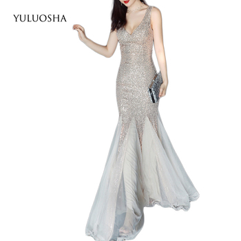 YULUOSHA Formal Dresses Evening Gown Draped Sequined Lace Mermaid Sleeveless Liza Gown Special Occasion Dresses Robe De Soiree