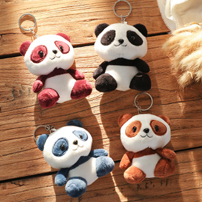 Cute Panda Animal Dolls 10CM Baby <font><b>Plush</b></font> <font><b>Toys</b></font> 4 Colors <font><b>key</b></font> <font><b>chain</b></font> ring Pendant <font><b>Plush</b></font> <font><b>Toys</b></font> Kids Birthday Gift image
