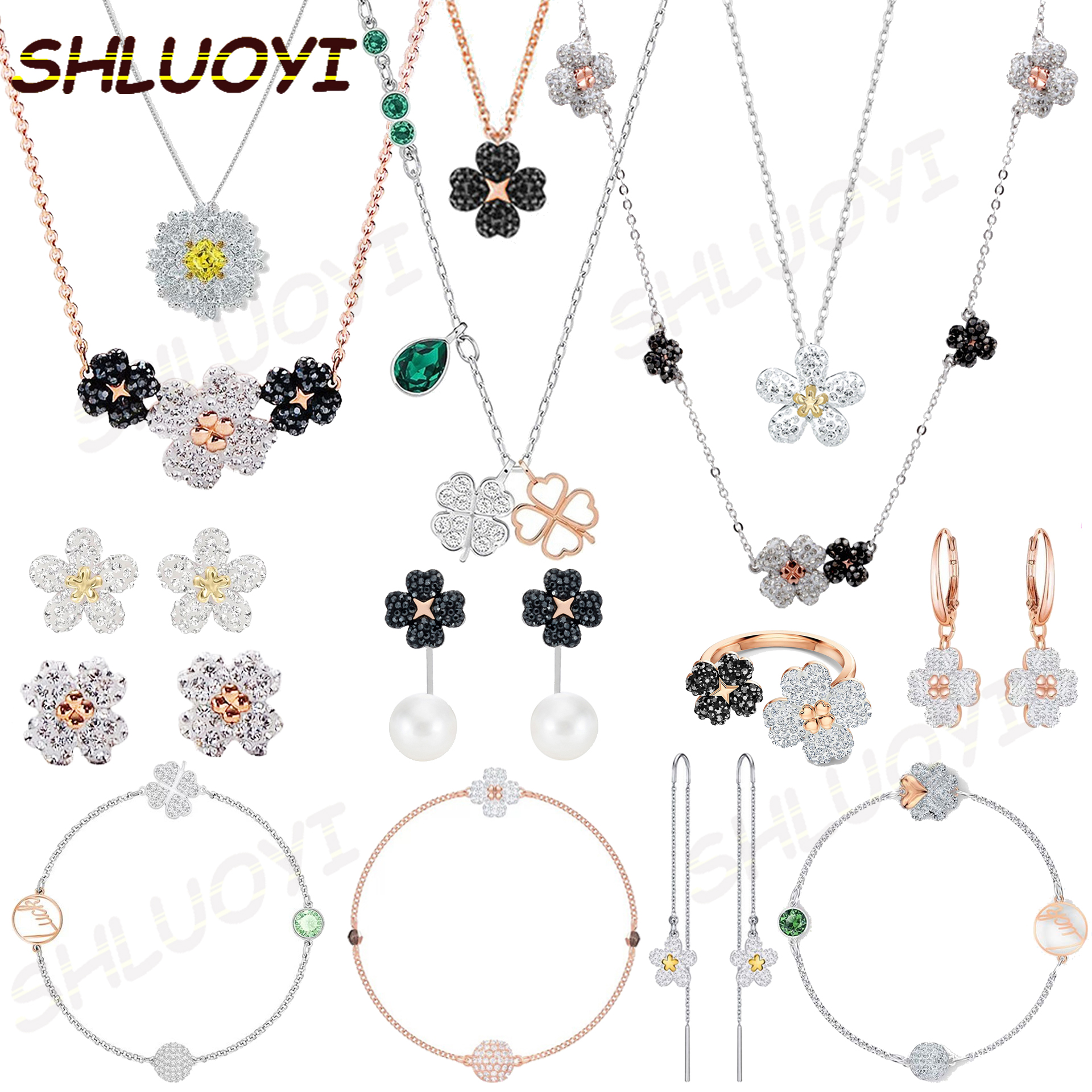 2020 fashion jewelry swa1:1 exquisite Austrian Crystal double-sided four leaf necklace is a charming gift for friends