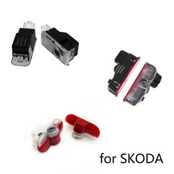 2X samochodów LED drzwiowe światło wejściowe projektor z Logo Laser cień duch światła dla Skoda Octavia A5 Superb Febia Roomster 2005 2008-2013 tanie i dobre opinie Witamy Światło