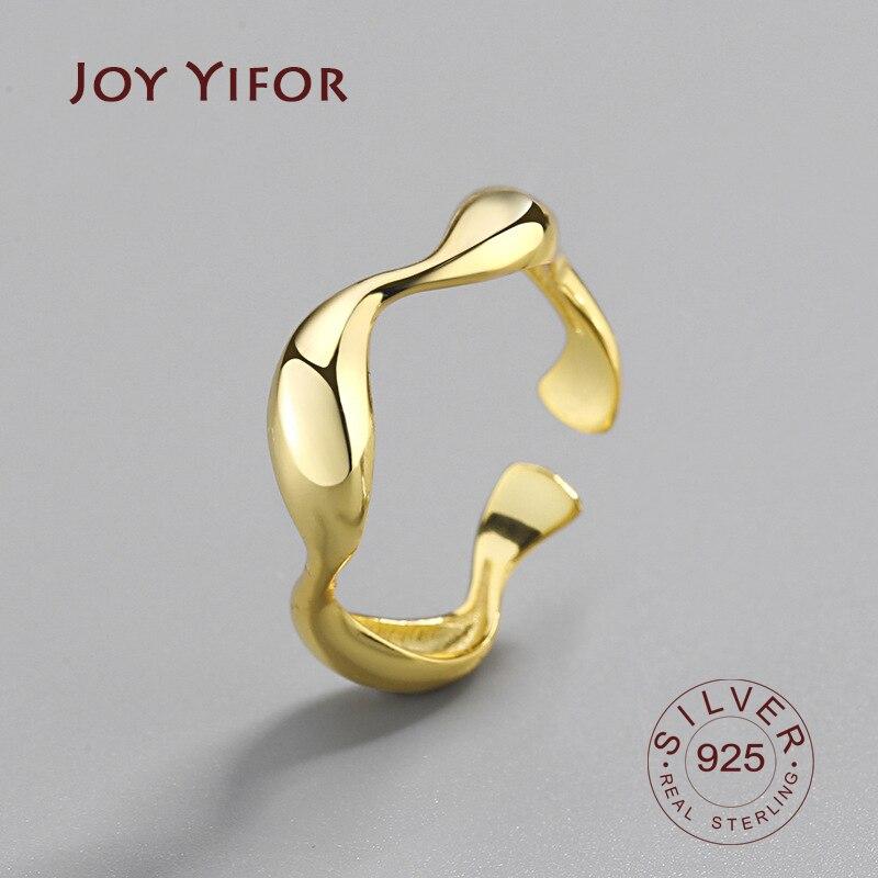 Anel de prata esterlina 925, anéis de onda irregular minimalista para mulheres, reajustável, feitos à mão
