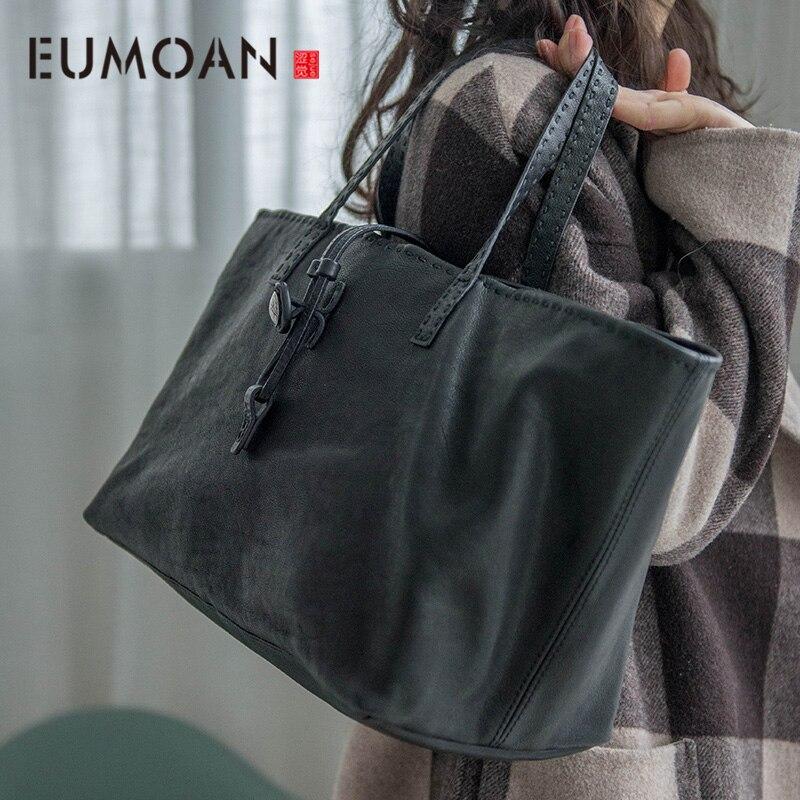 Bolso de mano de piel de vaca suave con cabeza Retro de EUMOAN bolso para compras sencillo bolso de hombro de mujer de gran capacidad