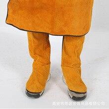 Cattlehide spawanie skórzane długie buty buty spawanie ochrona przeciwpożarowa Foot spawacz nakładka ochronna na buty nosić izolacyjne ochronne buty robocze