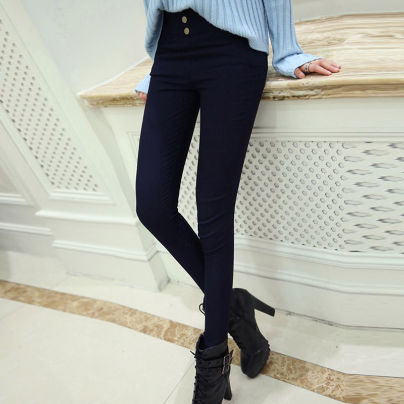 Women Spring Solid Color Pants Thin Stretch Trouser High Waist Button Pants & Capris All-match Leggings Hot