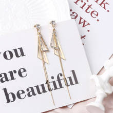 HelloMiss Temperament geometry rhinestone tassel earrings ladies personality wild stud fashion womens jewelry