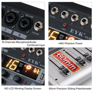 Image 5 - EYK EA80P 8 채널 믹싱 콘솔 2x150 와트/4 옴 전력 증폭기 전문 블루투스 레코드 USB 오디오 믹서 DJ
