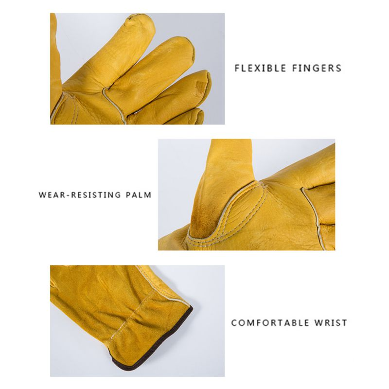 1 Pair Work Gloves Cowhide Security Protection Wear Welding Moto Hunting Gloves 2