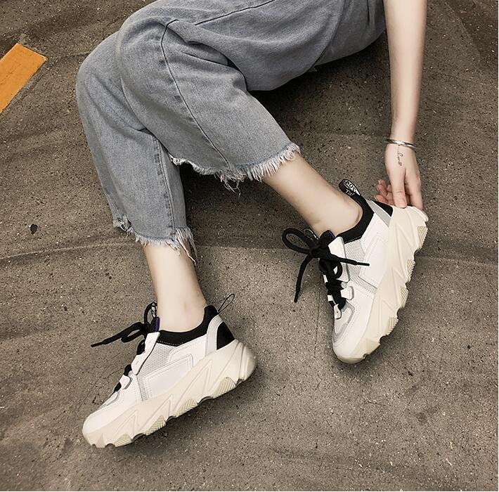 YeddaMavis Shoes Black Daddy Shoes Women Shoes Women Sneakers New Korean Thick Bottom Lace Up Shoes Womens Shoes Woman Trainers in Women 39 s Vulcanize Shoes from Shoes