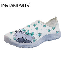 INSTANTARTS Cartoon Cute Cow Mesh Flats Kawaii Cattle Printing Women Summer Light Sneaker Ladies Breathable Daily Slip On Shoes