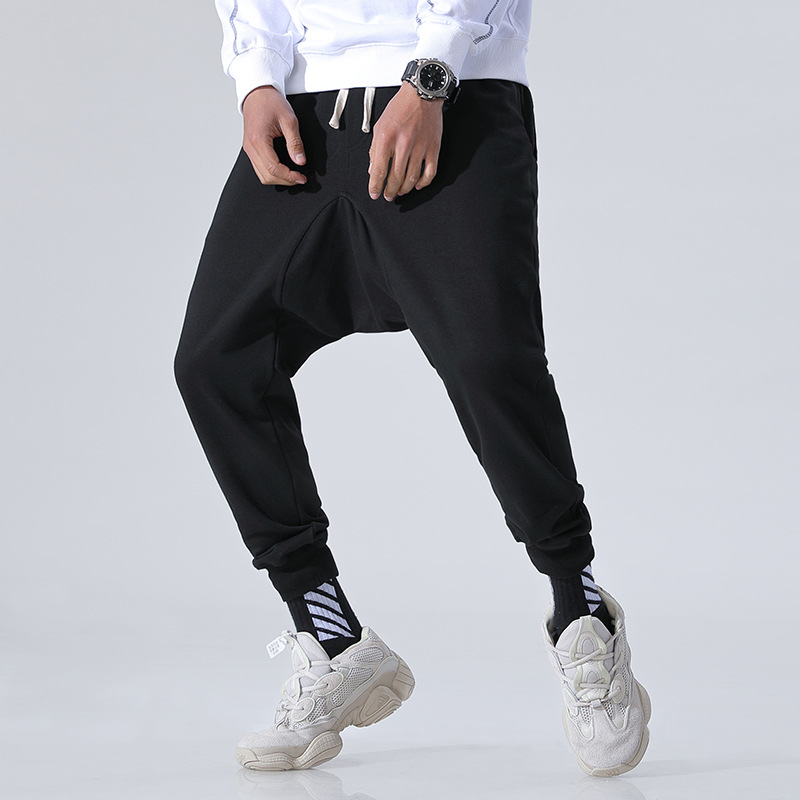 Men Pendant Sense Loose Pants Beam Leg Hip Hop Lun Off File Skinny Beam Leg Baggy Pants Solid Color Pure Cotton Sweatpants Capri