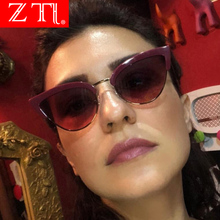 ZT Retro Half Frame Women Cat Eye Sunglasses Sexy Gradient Sun Glasses UV400