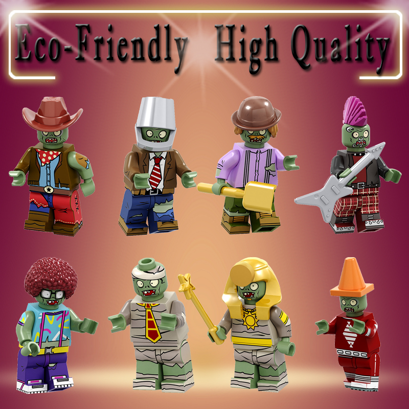 Legoed Building Blocks Plants Vs. Zombies Bricks Conehead Bucket Afro Explorer Pharaoh Cowboys Figures Children Toys Gift PG8197