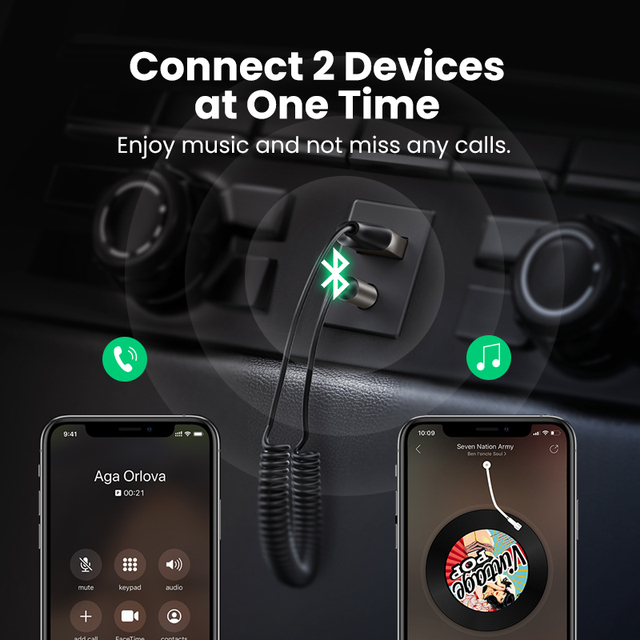 UGREEN Bluetooth Receiver 5.0 Adapter Hands-Free Car Kits AUX Audio 3.5mm Jack Music Wireless Receiver for Car BT Transmitter 3