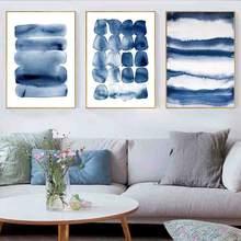 Темно синий абстрактные плакаты и принты акварельный холст живопись