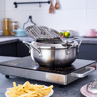 LMETJMA marmite japonaise avec un thermomètre et un couvercle 304 inox cuisine Tempura friteuse poêle 20 24 cm KC0405 3