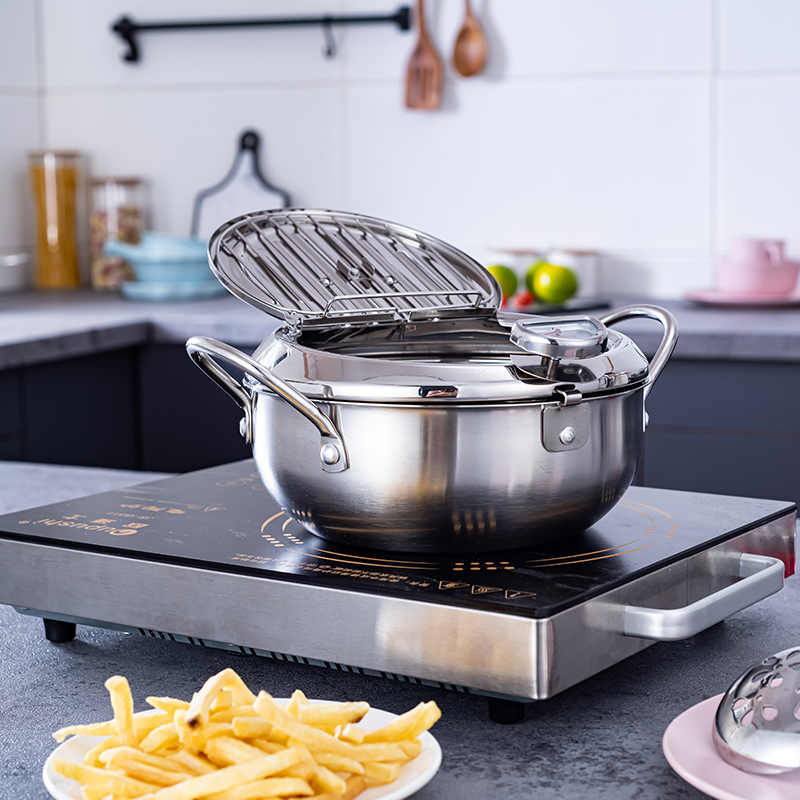 Mini Size Kitchen Deep Fryer Pot Dia 8 Inches Tempura Deep Fryer with Thermometer and Lid EAMATE Stainless Steel Tempura Fry Pot