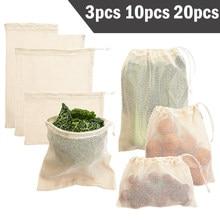 Ensemble de sacs de produits réutilisables 3 6 10 pièces sac écologique sacs de légumes en maille de coton pour sacs de stockage de fruits et légumes sac d'achat réutilisable