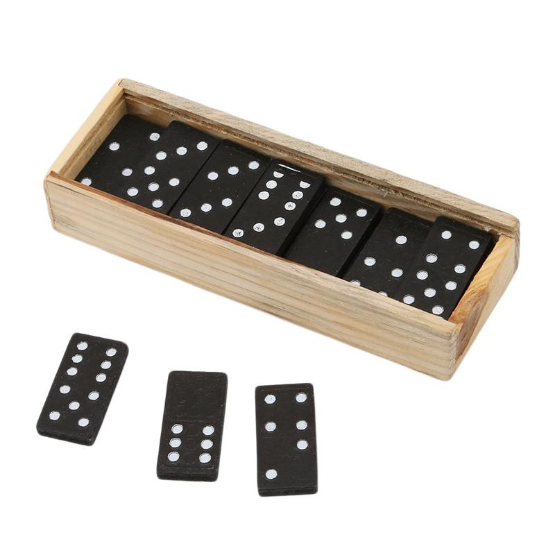 28 Pcs/Set Wooden Domino Blocks Board Game Travel Funny Table Game Domino Toys For Kid Children Educational Toys Domino Blocks