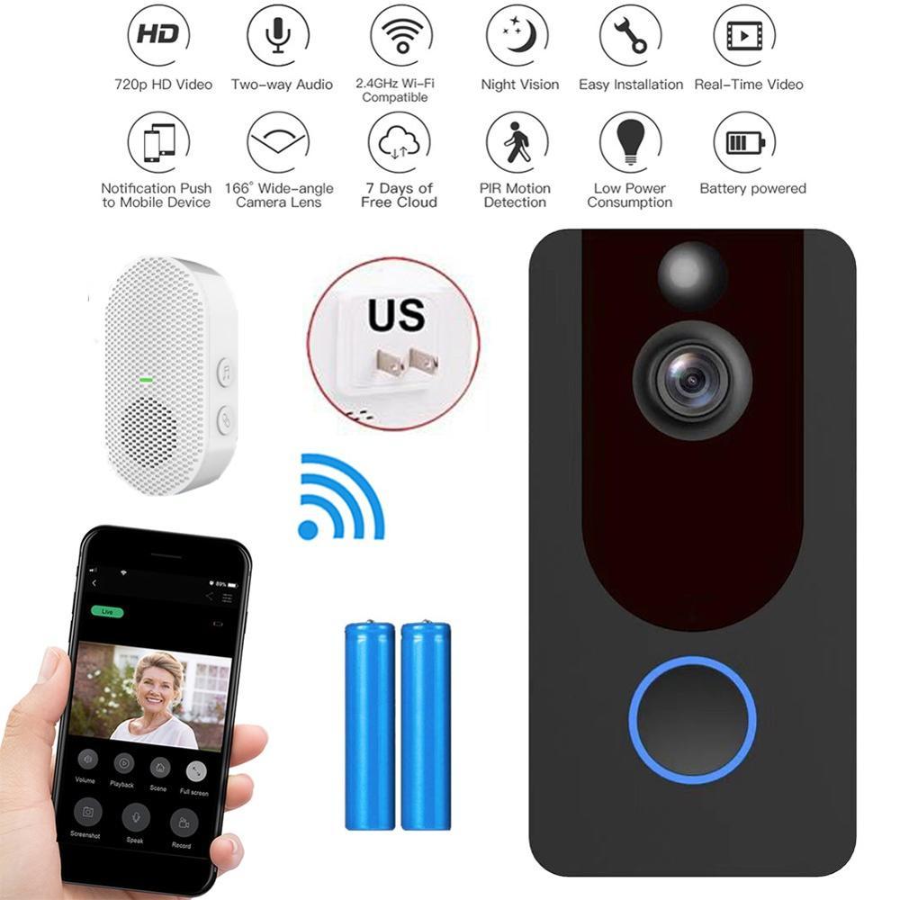 WiFi Wireless Talkback Door Ring Bell 1080P HD Smart Video Doorbell PIR Motion Night Vision Remote Recording Wide-angle Camera