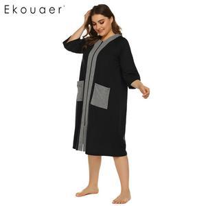 Image 4 - Ekouaer, camisón de talla grande para mujer, bata de media manga con cremallera y bolsillos, ropa de descanso, vestido de noche para señora, camisón, ropa de dormir, XL 5XL