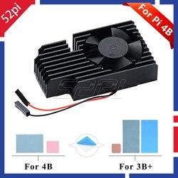52pi original novo! Kit do dissipador de calor do ventilador de refrigeração extremo cnc apenas para raspberry pi 4 b/3 b +/3b plus, não incluem a placa pi