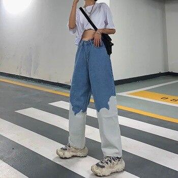 Jeans Women Pants Contrast Color Patchwork Long Straight Demin Trousers 2020 Summer New High Waist Jeans Pant boys contrast pocket jeans