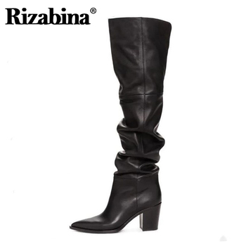 цена на RIZABINA Size 36-43 Real Leather Women Over Knee Boots Fashion Brand Sexy High Heel Winter Shoes Women Party Street Footwear