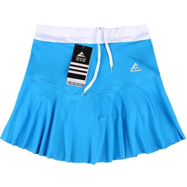 Женская Спортивная юбка весна лето тонкий анти-светильник Быстросохнущий дышащий пот Бег Фитнес стрейч шорты с шорты безопасности - Цвет: Blue
