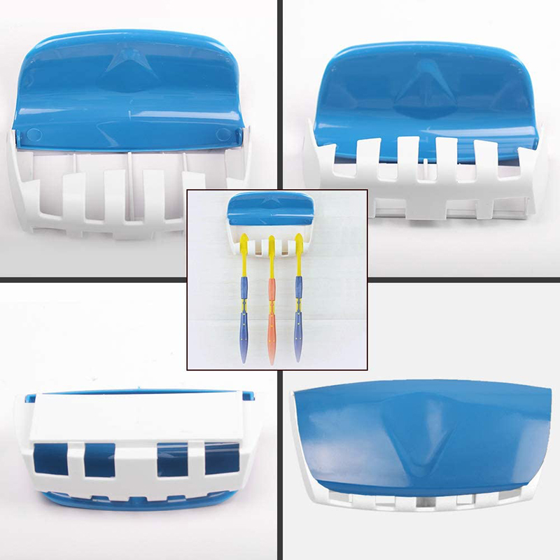 Automatic Toothpaste Dispenser Wall Mount Dust-proof Toothbrush Holder Wall Mount Storage Rack Bathroom Accessories Set Squeezer 6