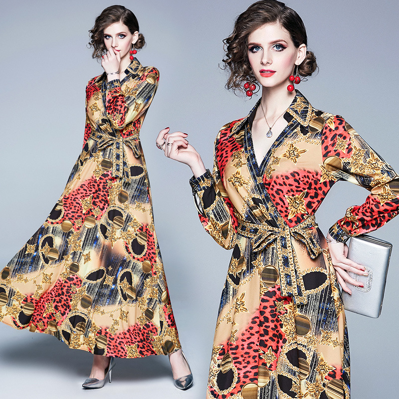 Photo Shoot 2019 Ozhouzhan New Style WOMEN'S Dress V-neck Printed Long Sleeve Slim Fit Slimming Big Hemline Long-sleeved Dress