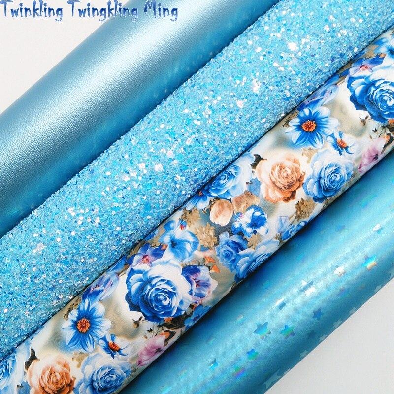 Синяя блестящая ткань, синтетическая кожа с цветами, листы из металлической искусственной ткани для банта A4 21x29 см мерцание мин XM023B