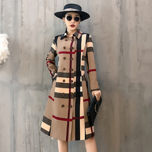 Fashion Turn-down Collar Trench-coat Women Autumn Khaki Striped Double-Breasted Casual Long-coat Office Lady Loose Windbreaker