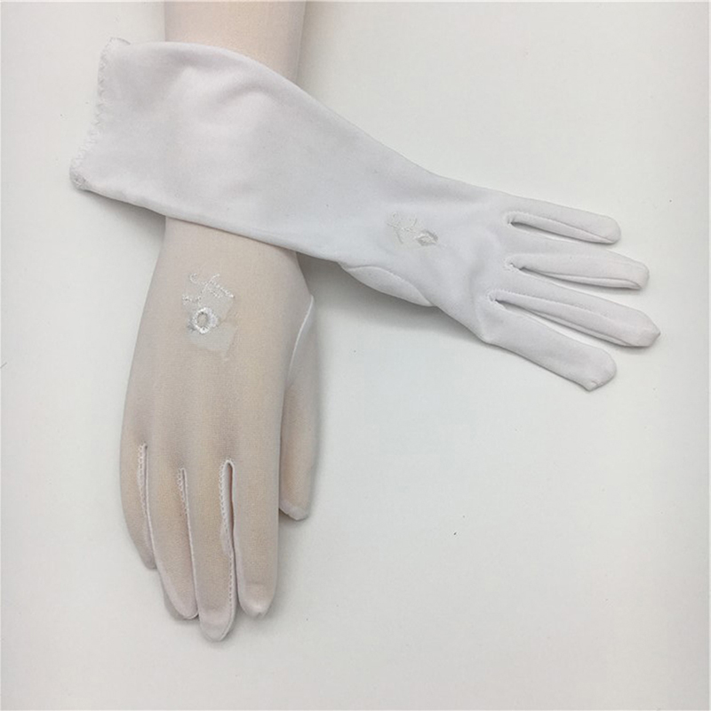 Women Summer Sunscreen Gloves Lady Medium-length Thin Elastic Etiquette Gloves Embroidered Driving Car Accessories