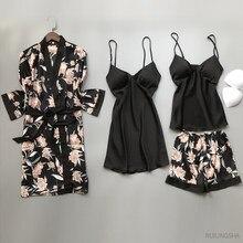Mulheres verão do falso seda 4 peças conjuntos de robe cetim kimono noite vestido flor impressão sexy plus size camisas pijamas banho robe