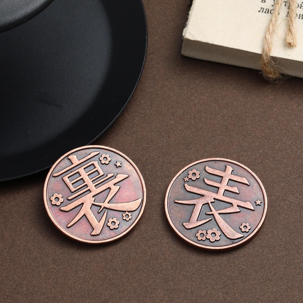 H00ae2560a6e5482a9b6d4ab18ecc08b2B Moeda Anime demon slayer moeda cosplay kimetsu no yaiba tsuyuri kanawo kochou shinobu coletar liga de metal moedas tokens coleção adereços