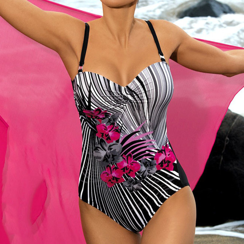 Sexy Striped Floral One Piece Large Swimsuits Closed Push Up Female Plus Size Swimwear Pool Beach 2019 Body Bathing Suit Women