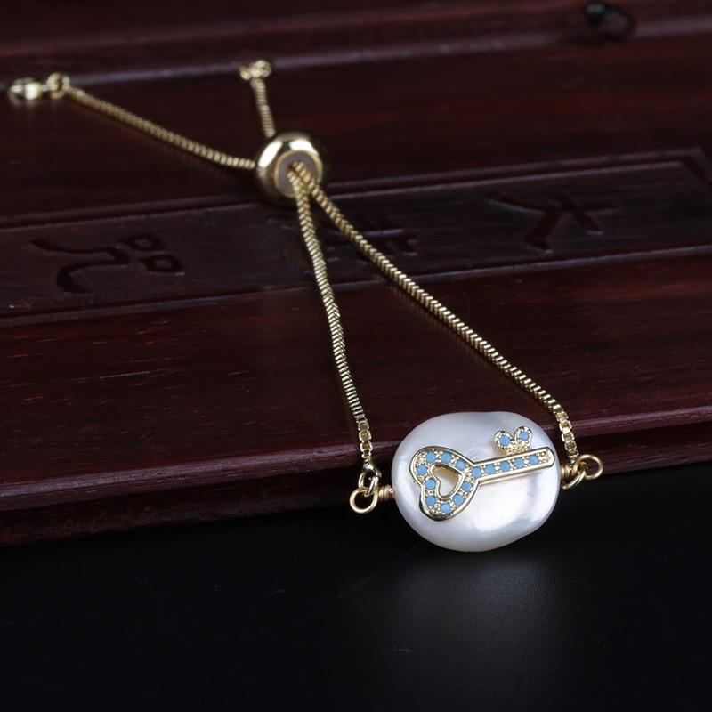 mint lake blue cz paved tiny heart key charm freshwater pearl bead charms dainty link bracelet for women wedding birthday gift(China)