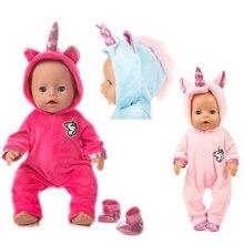 חליפה + נעלי בובות תלבושת עבור 17 אינץ 43cm zapf תינוק נולד בובת חמוד מגשרים Rompers בובת בגדים